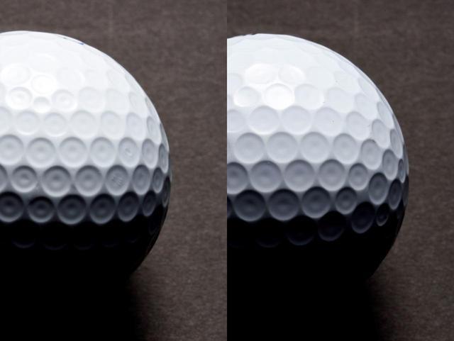 画像: 左が前モデル、右が新モデルのTOUR B X/XSボールのディンプル