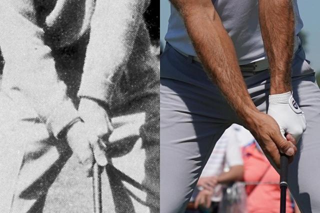 画像: クラブの大型化により、ダスティン・ジョンソンのようにストロンググリップで握るのが主流に(右)。一方ベン・ホーガンのようなウィークグリップ(左)で握る選手は少なくなった