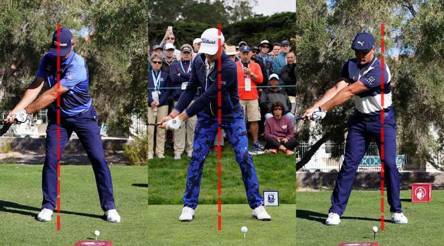 画像: ウッドランド(左)、トーマス(中)、デシャンボー(右)。並べてみると、それぞれスウィング軸が異なることがわかる