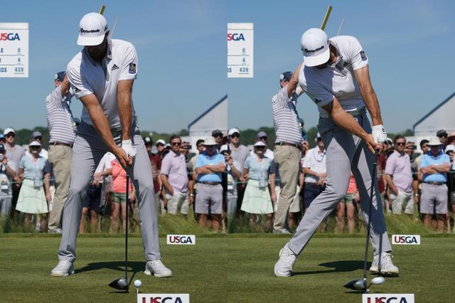 画像: DJはアドレス時、グリップエンドが左股関節前辺りにある。インパクトは左足前、またはそれより先にくる(写真は2018年の全米オープン)