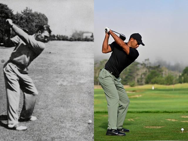 画像: ベン・ホーガン(左)は左手首が甲側に屈折させ、オープンフェース。それに対しタイガー・ウッズはややシャットに上げているのがわかる