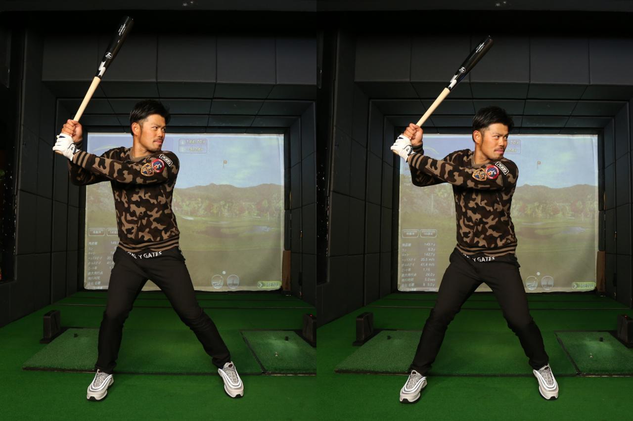 画像: 野球のスウィングでは体の左側へ大きく踏み込む動作が入ると今江。このクセがゴルフでも出てしまっていたようだ