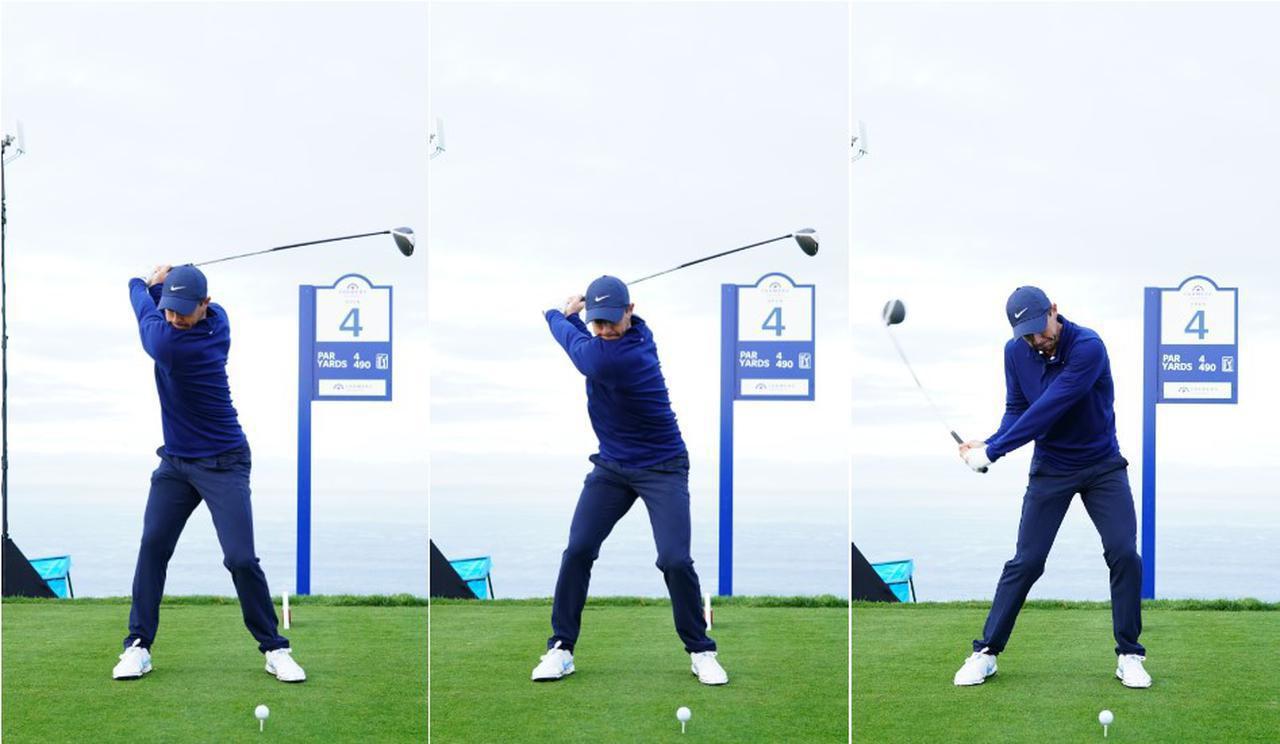 画像: 画像B:回転の力(左)、横方向の力(中)、縦方向の力(右)、飛距離を伸ばす3つの要素をすべて取り入れているのがマキロイだ