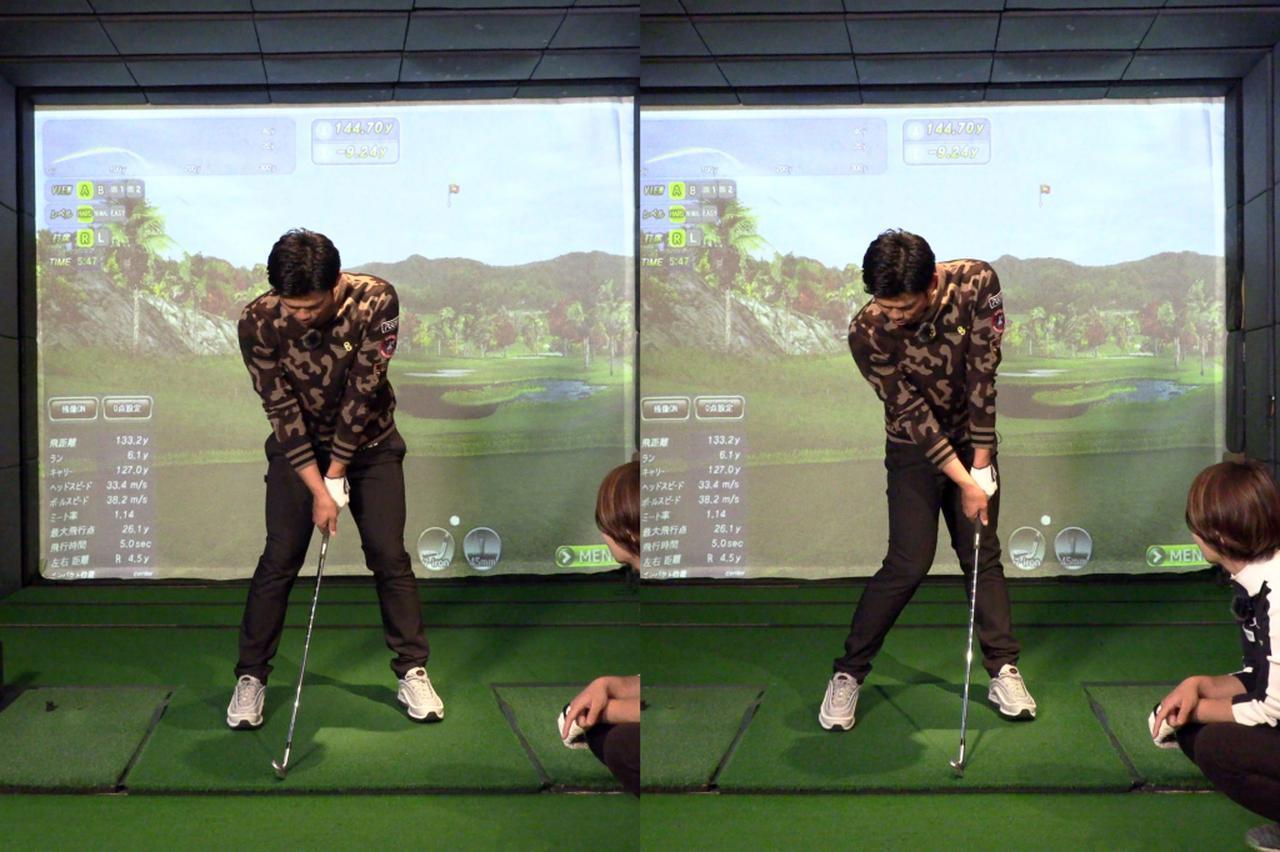 画像: 腰はスライドさせず、左腰を体の後ろ側に持っていくイメージで回そう