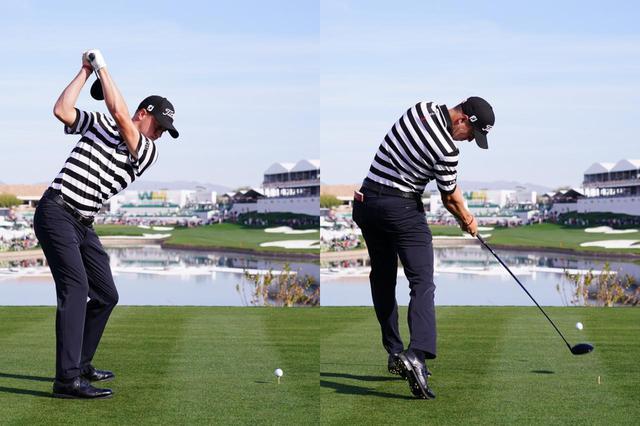 画像: 画像C:左ひざは伸びても前傾角度は変わらない。それにより、飛距離と安定性を両立しているトーマス。データを見てもショットの指標が非常に良い(写真は2019年のフェニックスオープン 撮影/姉崎正)