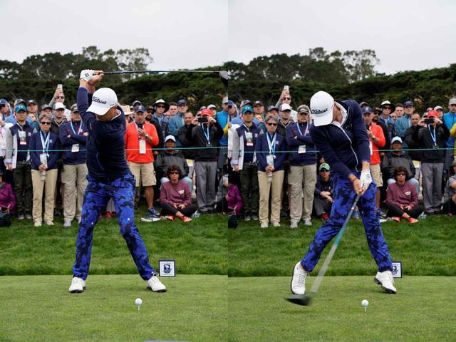 画像: 画像B:頭の高さに注目。左ひざが伸びているにも関わらず、頭の高さは変わっていない(写真は2019年の全米オープン)