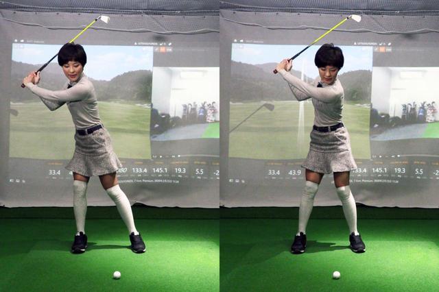 画像: 写真A:左のように体重移動が多すぎるとスウィング軸がズレてミスにつながる。アイアンの場合は、右のように体重移動は少なめでオッケーだと小澤は言う