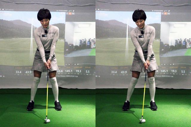 画像: 写真B:小澤はお尻の位置をわずかに左へずらすことで、ダウンブローでインパクトする形をアドレス時点で作っているという