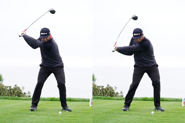 画像: 写真B:切り返し直前の画像が左。非常にコンパクトなトップであることがわかる(写真は2020年のファーマーズインシュランスオープン 撮影/姉崎正)