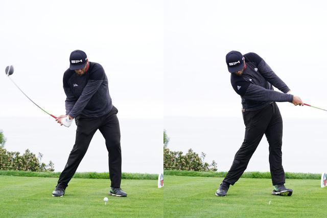 画像: 写真C:切り返しでフェースが閉じてくるので、フェースを返す動きは少なめ。踏み込んだ左足をインパクトで伸ばすことでより強い回転力を生み出している(写真は2020年のファーマーズインシュランスオープン 撮影/姉崎正)