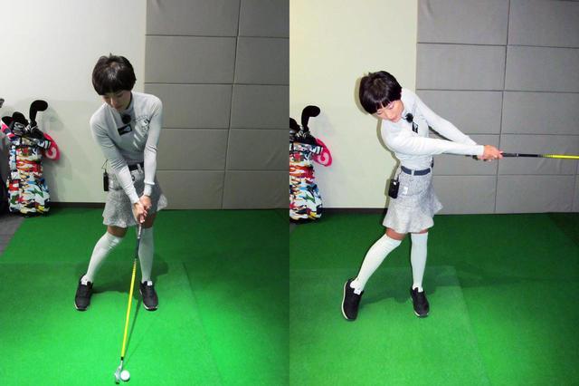 画像: インパクト直前の形で構え、そのまま振り抜く。ボールをなるべく遠くに飛ばす
