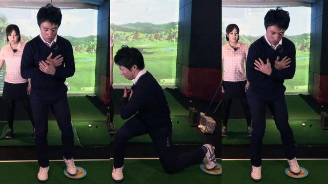 画像: 左足をディスクに乗せ、真横にスライドさせながら体を右にねじり、スクワットした状態から一気に元の姿勢に戻す