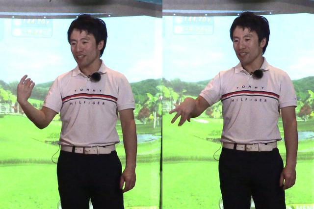 画像: 腕の末端を速く振れる動作を説明する原田。20代前半には通じないが、水銀の体温計を振る動きと同じ