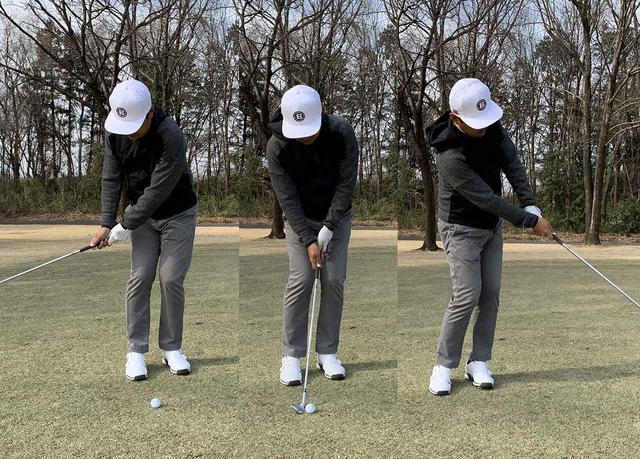 画像: スタンスを狭くしても同じイメージで打つと回転運動になる