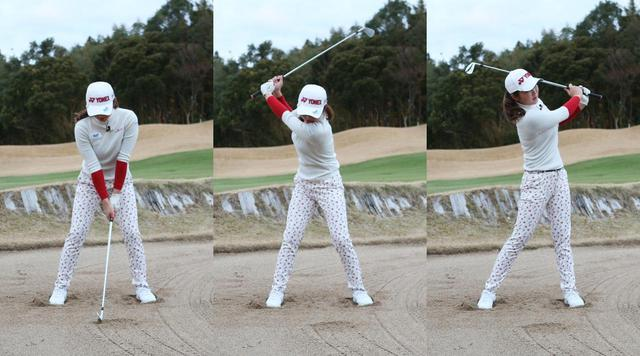 画像: クラブを構えるときにインパクト地点の高さを決めたら、右ひざを固定。あとはクラブを上げて戻すだけだ(撮影/野村知也)
