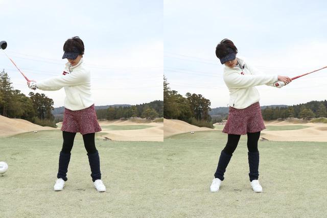 画像: 右足寄りにボールを置くことで、外旋の動きがより意識しやすいと小澤(撮影/野村知也)