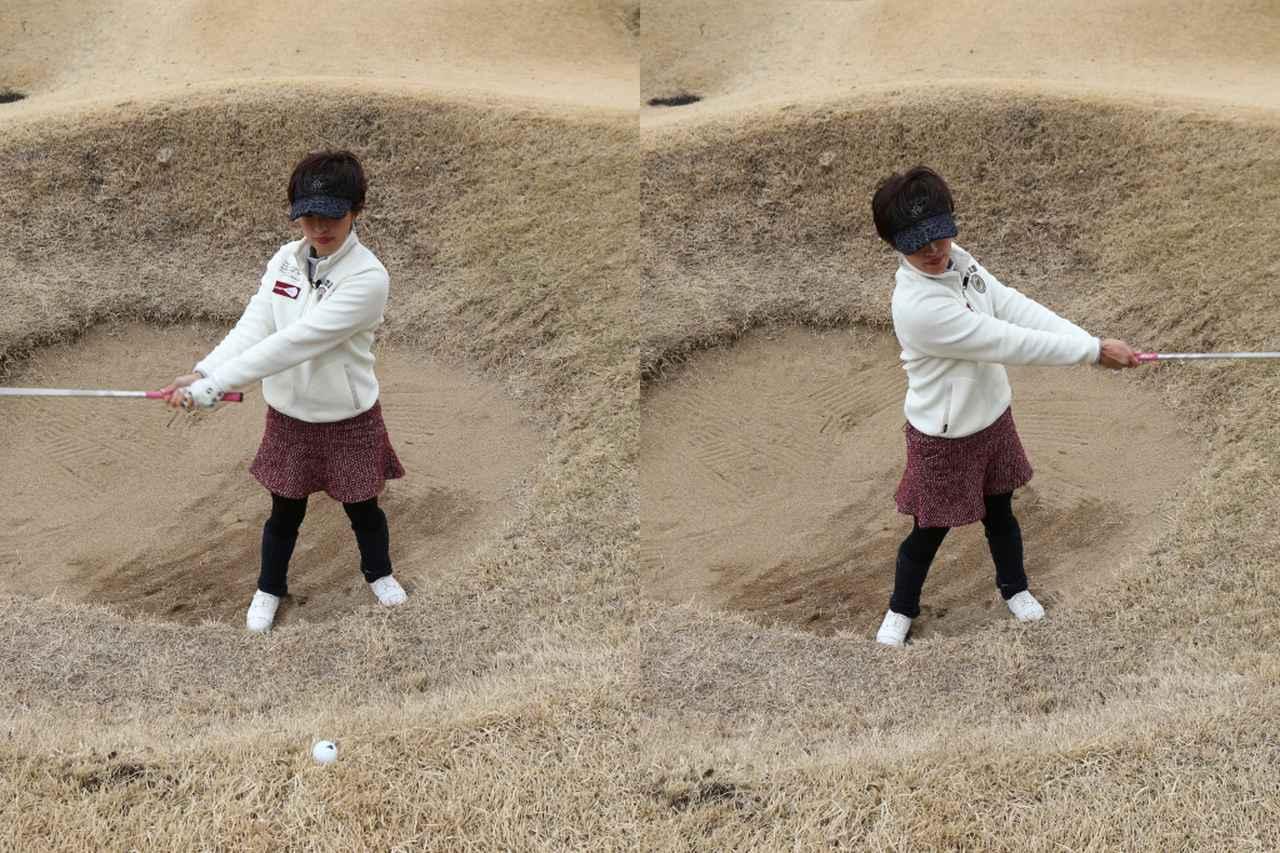 画像: 強烈なつま先上がりのため、スウィングはかなりフラットに(撮影/野村知也)