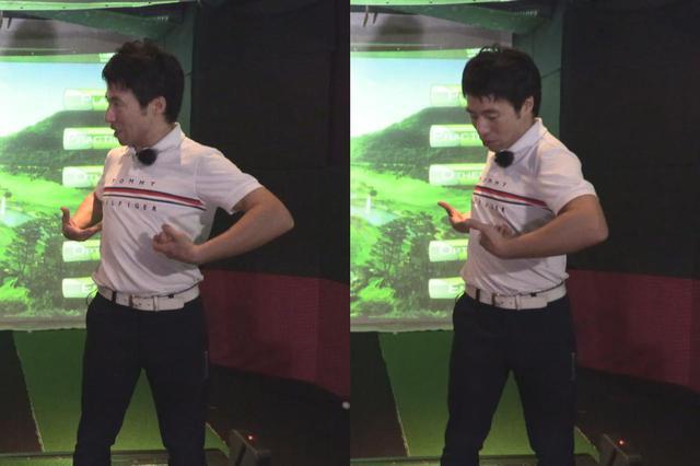 画像: 捻転の分離点は腰ではなく、胸とお腹の境目だと原田