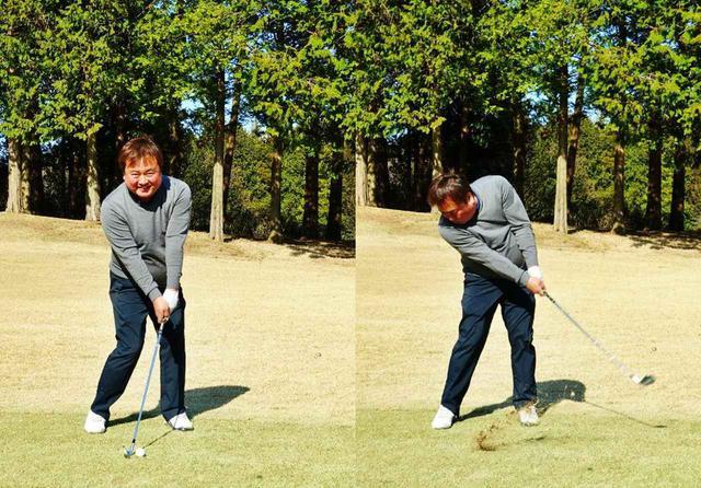 画像: 画像1:低い球を打つときは、ハンドファーストを強くしてロフトを立てて打つという辻垣内柾好さん