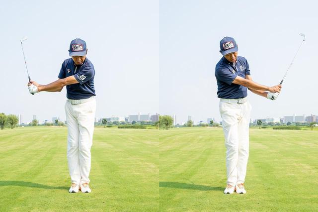 画像: 両足をそろえてスウィングすることで、クラブヘッドと手元の動きが同調する感覚をつかめる