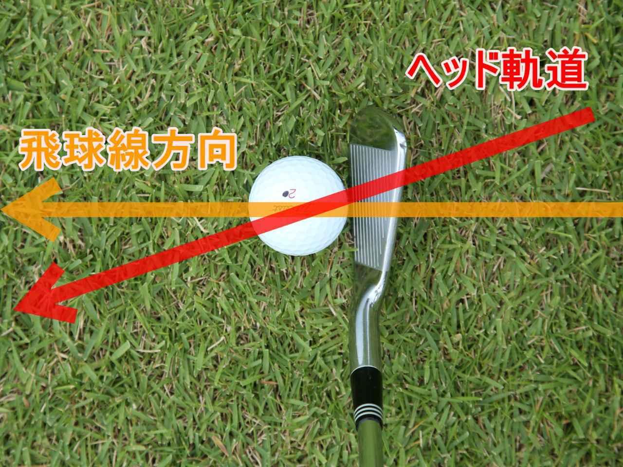 画像: ボールに対して体の外側からインパクトして内側へ抜けていくのが、アウトサイドイン軌道