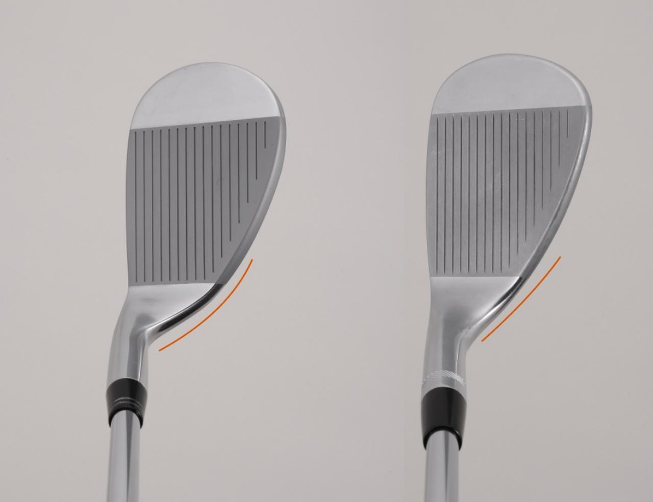 画像: 左がシャフトの中心軸よりリーディングエッジが引っ込んでいる(F.P.が小さい、あるいはマイナスの)グースネック。右が中心軸よりリーディングエッジが出っ張っている(F.P.の値が大きい)出っ歯ウェッジ