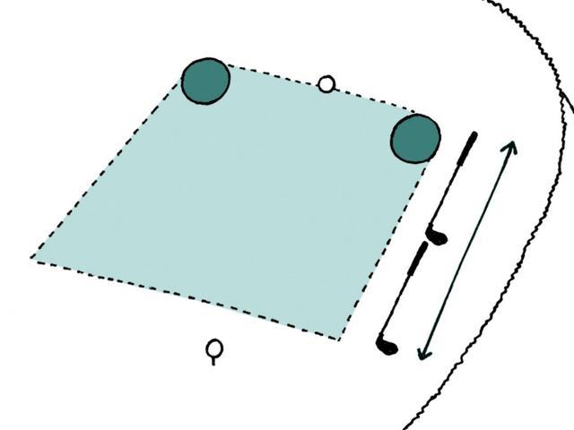画像: 画像A:ティーイングエリアの範囲は破線で囲まれた緑の部分だ