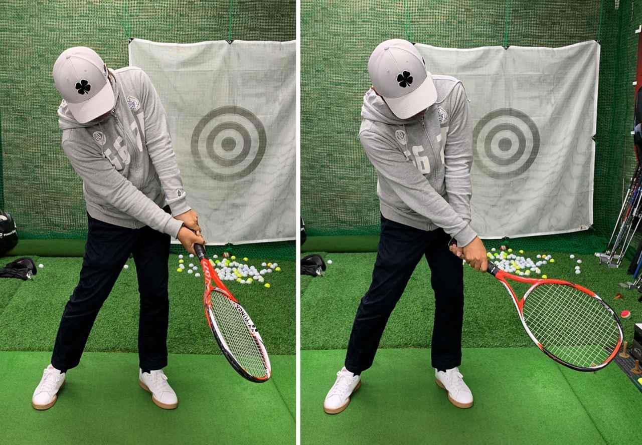 画像: 左のようにインパクト後にフェース面が開いてはダメ。右のようにつかまえようとして、手でフェース面を左下に向けてもダメ