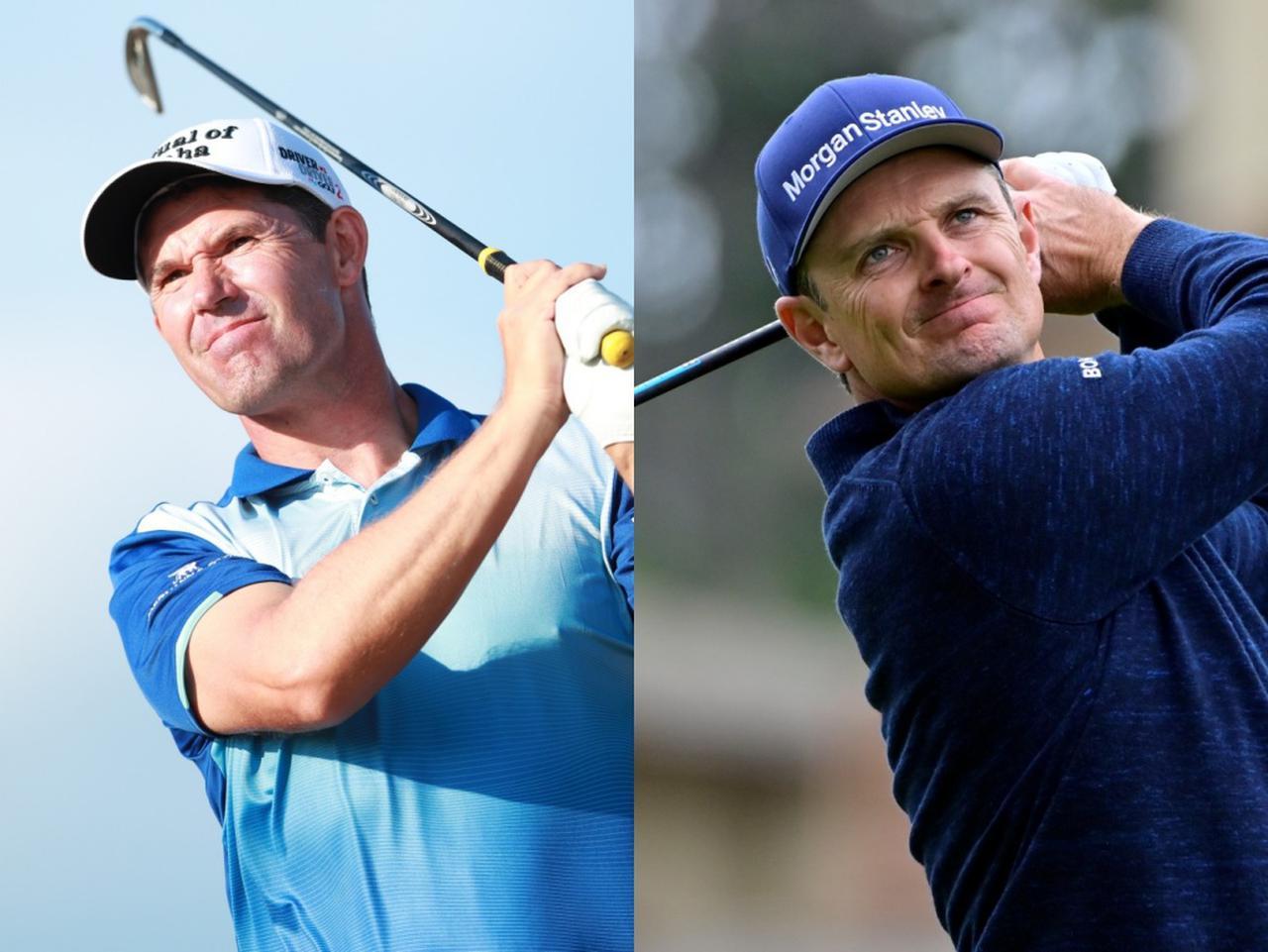 画像: メジャー3勝を挙げているパドレイグ・ハリントン(左)や元世界ランク1位のジャスティン・ローズ(右)もレッスン動画を投稿している。#GolfAtHome で検索してみよう