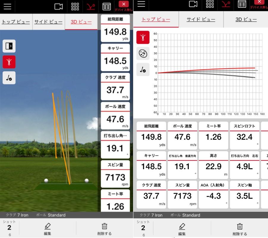 画像: 左はショットデータを3D表示したもの、右は左右のバラつきとフライトデータを確認できる