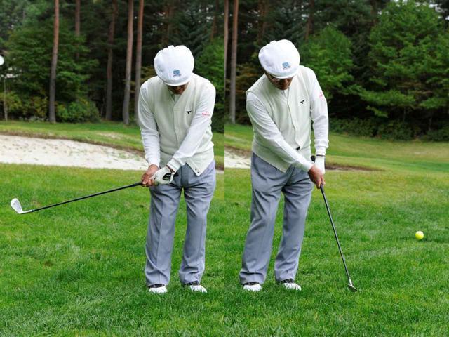 画像: コッキングを使ってチップショットする陳清波。ここにゴルフの極意があると永井は言う
