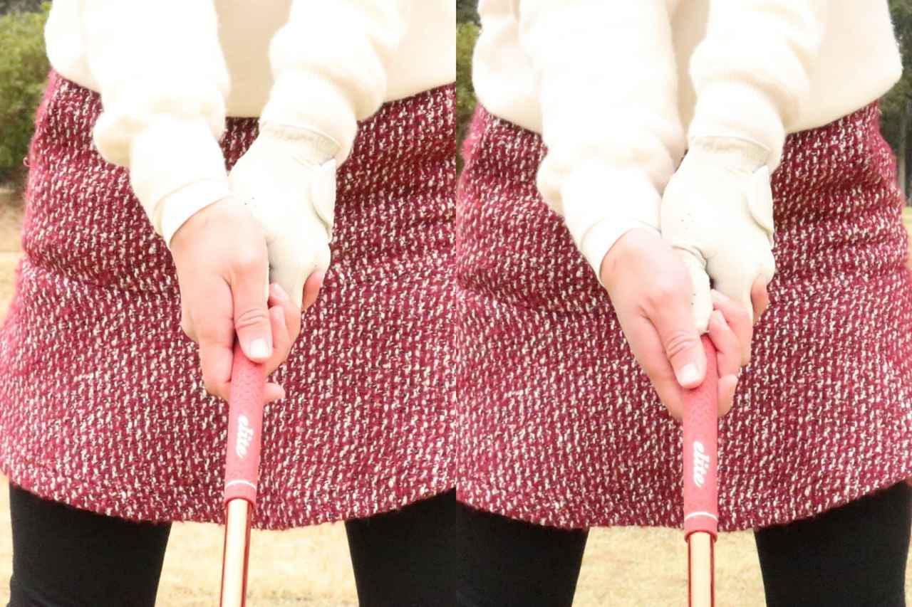 画像: 以前はグリップの上からかぶせるような右手の握り方だった(左)。改善後のグリップはグリップの斜め下から握っている(右)