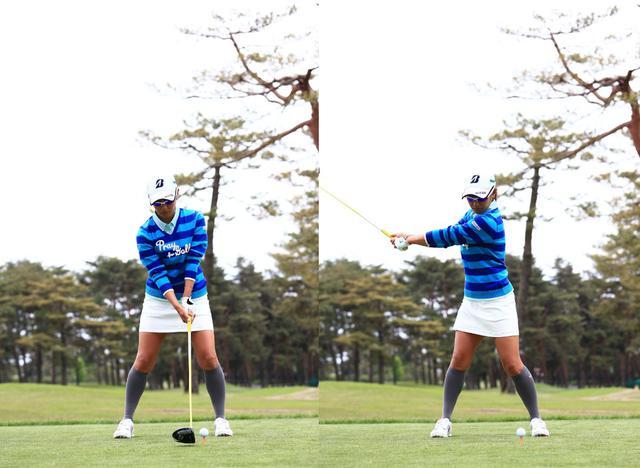 画像: 左手のナックルが3つ見えるストロンググリップ(画像左)からセンター軸でワイドにテークバックする(写真は2015年のワールドレディスサロンパスカップ 写真/大澤進二)