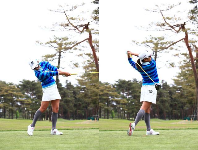 画像: 左足を踏み込んで左サイドの回転をしっかり使い伸びやかなフィニッシュをとる(写真は2015年のワールドレディスサロンパスカップ 写真/大澤進二)