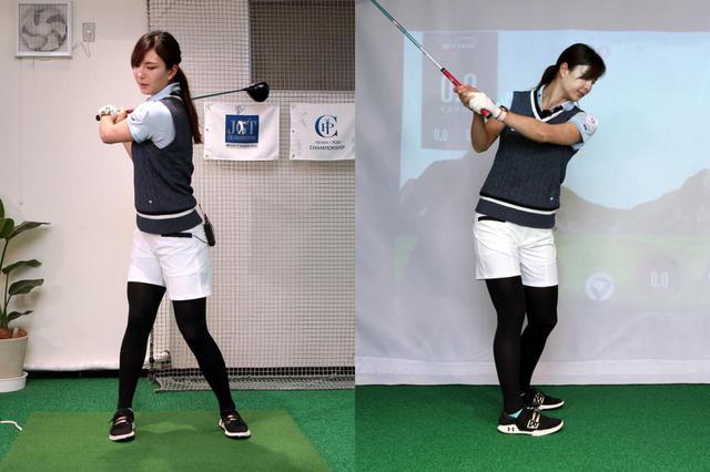 画像: スタンスが狭すぎると股関節の動きが制限され、自然と回す動きになってしまう。腕の上がる位置がより後ろ側になり、上体が起き上がりやすい