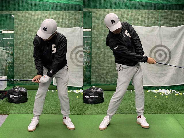 画像: アマチュアは左写真のように切り返し直後に力が入るけれど、プロは右写真のようにインパクト前からフォローにかけて力を入れるのでヘッドが走る