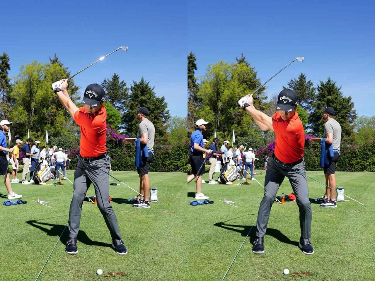 画像: 切り返しで踏み込んだときに、棒が下向き(地面を向く)ようなイメージで練習していると石川はいう