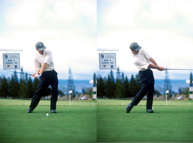 画像: 画像C 腕やフェースのローテーションは少なく回転(トルク)を止めずに振り抜く(写真は2001年のメルセデス選手権)