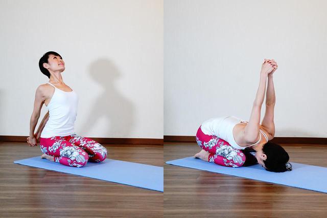 画像: 体の後ろで指を組み、そのまま状態を倒す。組んだ腕は気持ちの良いところまで上に伸ばす
