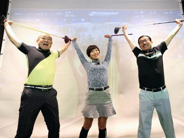 画像: 両手でクラブを持ち、背伸びをするストレッチ。アドレスの姿勢を安定させる効果がある