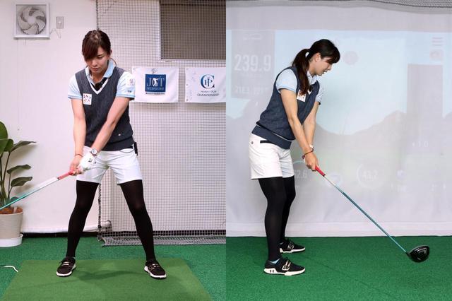 画像: ヘッドの動きを中心にスウィングを考えると、体ではなく腕が先行してしまうと高島は言う