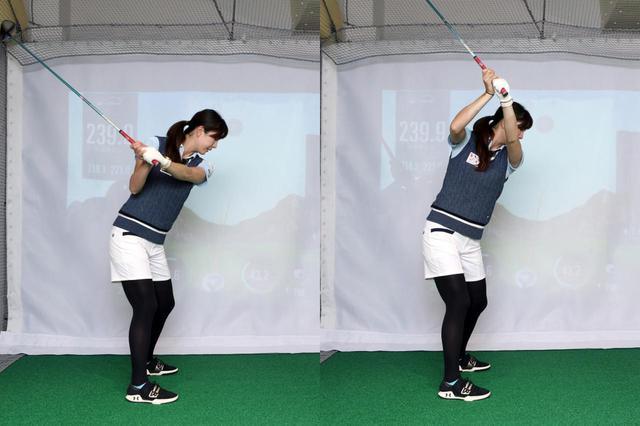 画像: 写真A:腕・クラブが先行するテークバックだと、アーリーコッキングで右わきが締まりすぎてインサイドにクラブが上がりすぎたり(左)、クラブを高く上げようとして右わきが開きアウトサイドに上がりすぎてしまう(右)