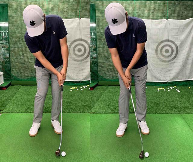 画像: アッパーブローで打つ場合は、両手首の角度に注意。左手首が手のひら側に折れたり(左)、逆に右手首が手のひら側に折れてしまい(右)、転がりが安定しなかった