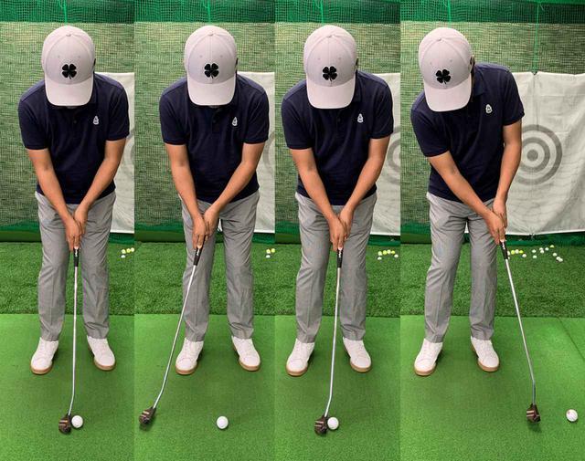 画像: ダウンブローで打つ際は、打ち終わるまで絶対に顔を上げないよう注意しよう。筆者の場合はゆるやかなダウンブローでボールをとらえ、フォローもアッパーブローよりは低いイメージでストロークすることで転がりが安定した
