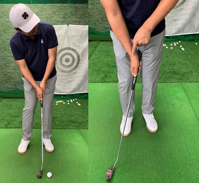 画像: ダウンブローで打つ場合は、インパクト時に顔が上がるのは絶対にダメ(左)。右手首の角度をキープしたままストロークすることを心がけよう(右)
