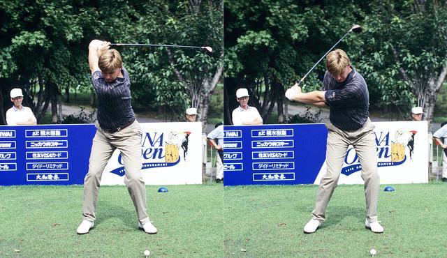 画像: 画像B 伸びた左腕がクラブが描く円の半径を大きくしヘッドスピードを上げ入射角を緩やかにする(写真は95年のANAオープン)