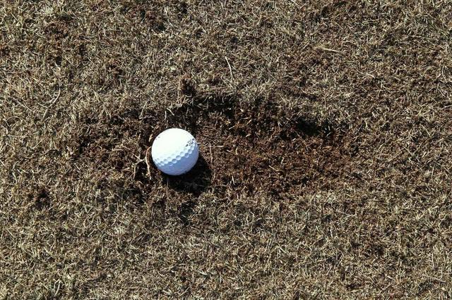 画像: ディボット跡の飛球線方向側にボールが位置している場合