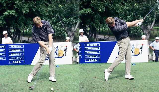 画像: 画像C インパクト前後で頭の位置が変わらず、体の中心部はゆっくり回転し末端部は高速で動く高効率なスウィング(写真は95年のANAオープン)