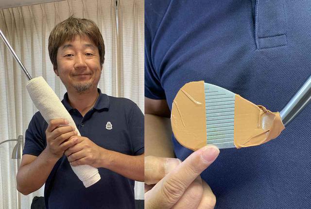 画像: グリップにタオルを巻くことで手首の動きを抑えたり(左)、フェースのトウとヒール寄りにガムテープを貼り、芯でヒットしたかわかりやすくしたりと(右)、1ヤードアプローチドリルのアレンジも様々