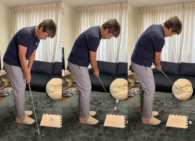 画像: 手先を使わずに体幹を使って振る感覚がつかめる1ヤードのアプローチ練習